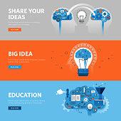 Set of flat line design web banners for brainstorming