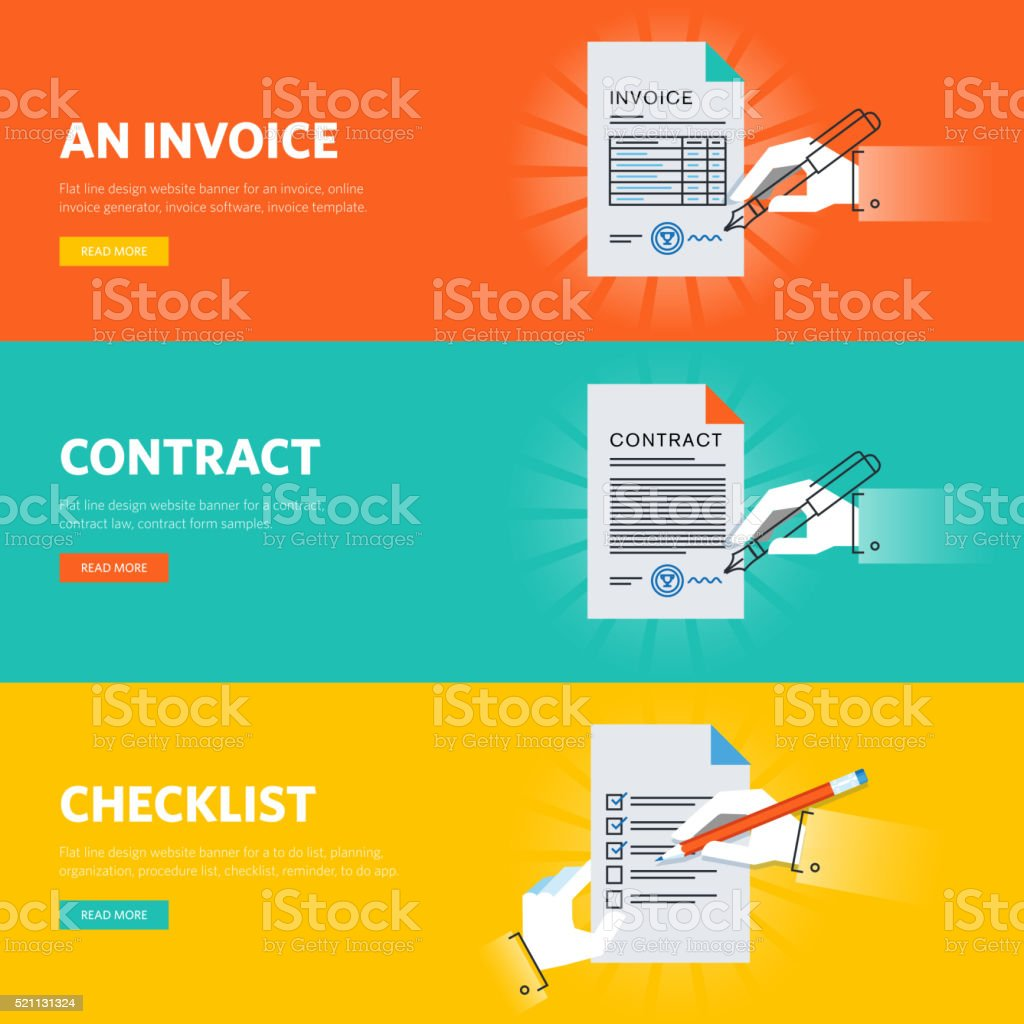 Set of flat line design web banners for business documentations vector art illustration