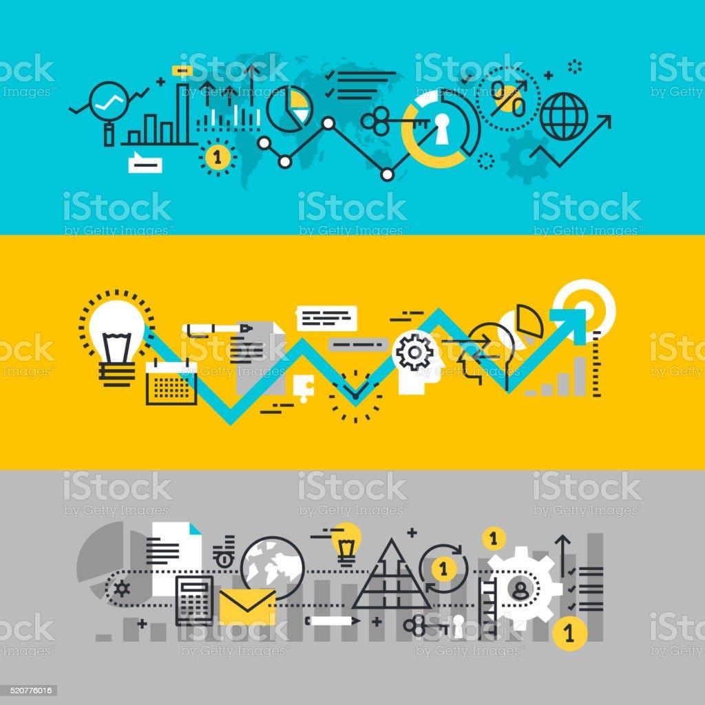 Conjunto de linha plana de projeto Web bandeiras de processo de negócios - ilustração de arte em vetor