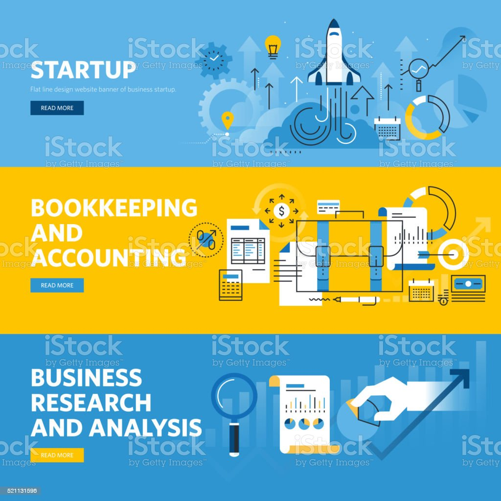 Set Of Flat Line Design Web Banners For Company Startup Stock Vector ...