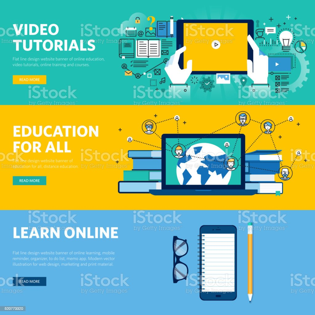 Set of flat line design web banners for distance education vector art illustration