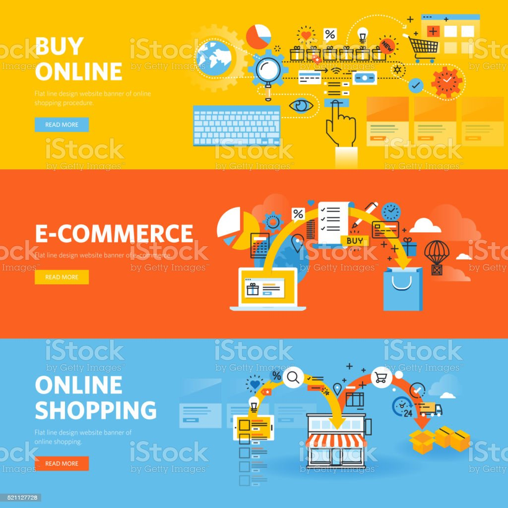 Set of flat line design web banners for online shopping vector art illustration