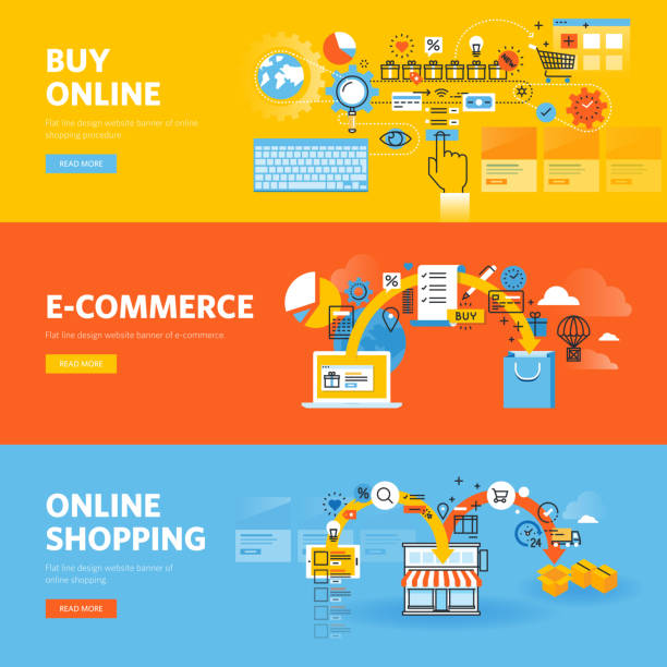 set of flat line design web banners for online shopping - e commerce stock illustrations, clip art, cartoons, & icons