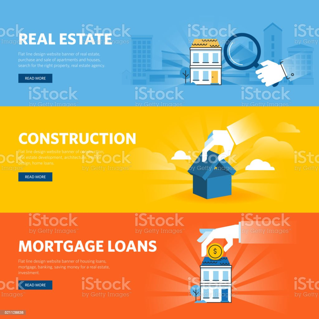 Set of flat line design web banners for real estate vector art illustration