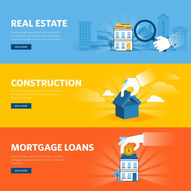 Satz von flach Linie Gestaltung web-Banner für Real Immobilien – Vektorgrafik