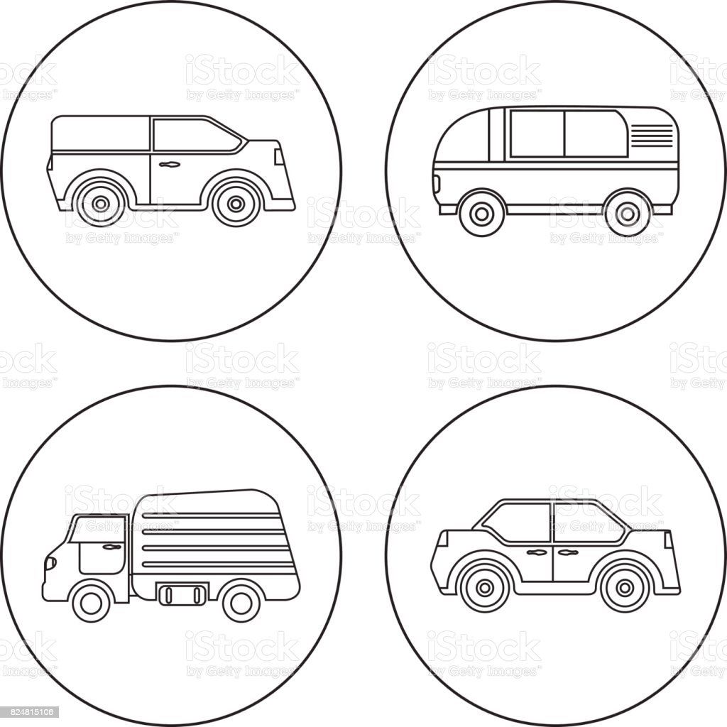 A set of flat linear icons of cars in a vector. Tourist van, Truck, Sedan. vector art illustration