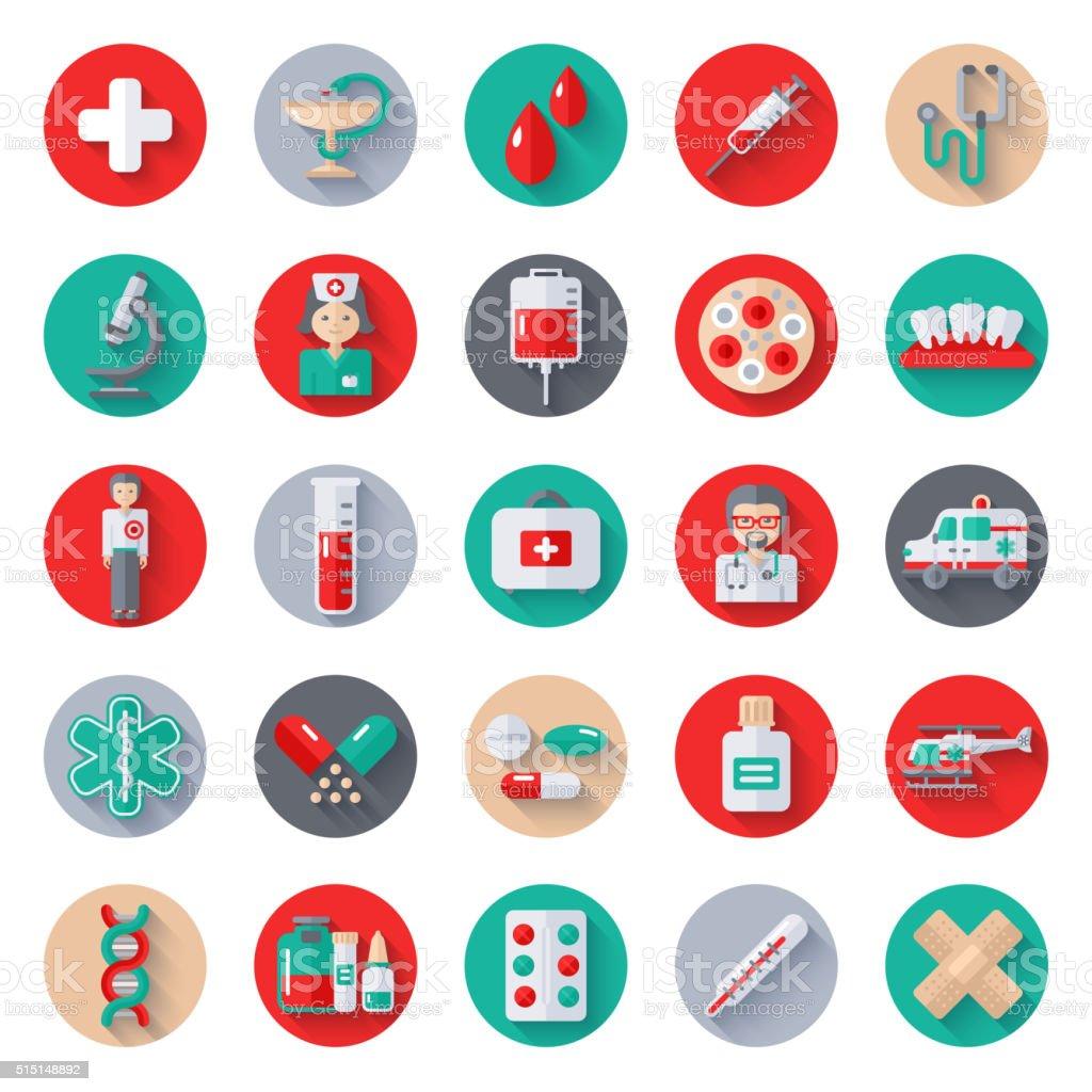 Set of Flat Medical Icons on Circles vector art illustration