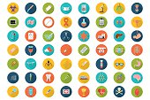 Big set of medical icons in the colored circles with long shadow