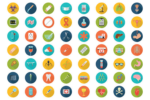 stockillustraties, clipart, cartoons en iconen met set of flat medical icons - plat