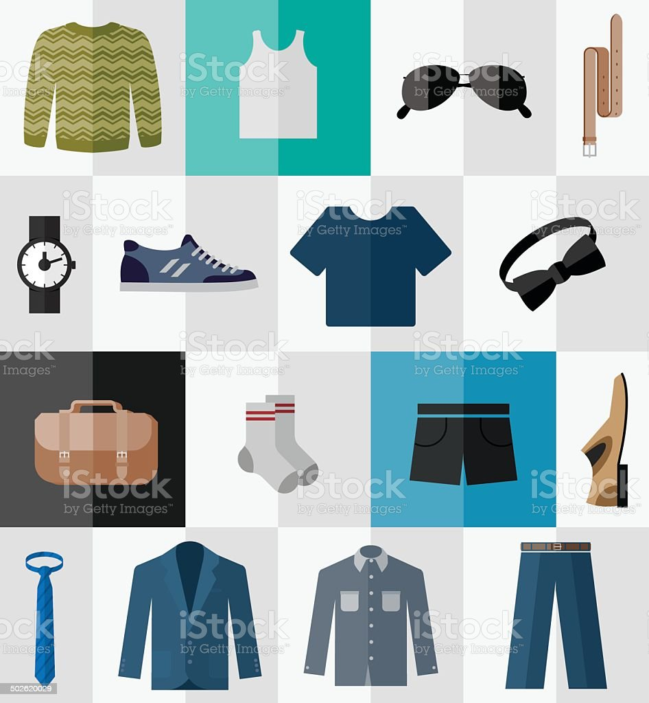 Set of flat men clothes and accessories icons vector art illustration