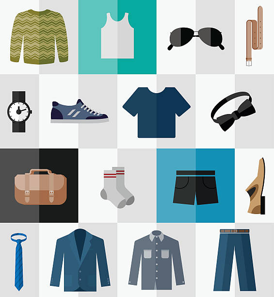 set of flat men clothes and accessories icons - mens fashion stock illustrations, clip art, cartoons, & icons