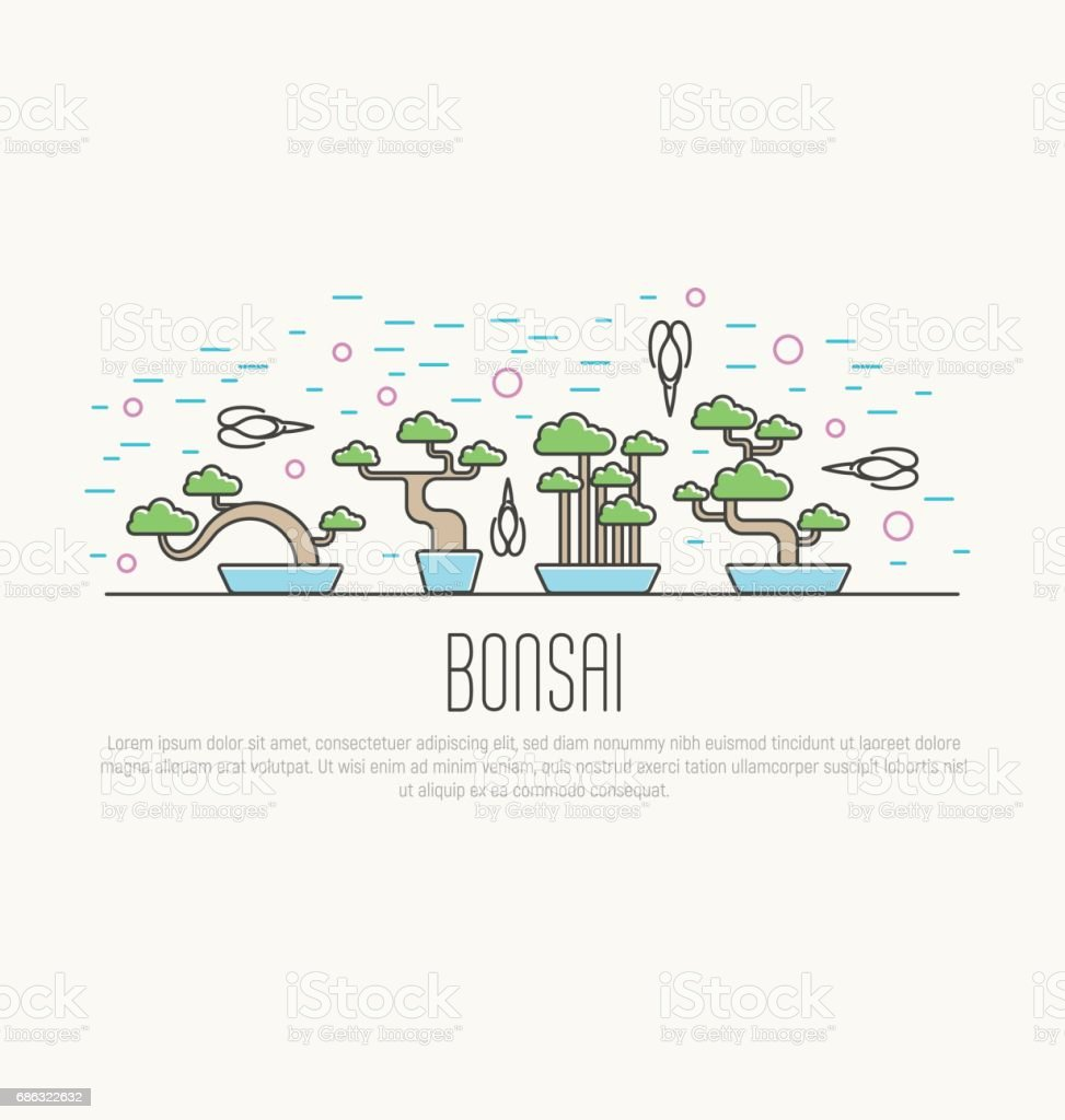 Set of flat miniature bonsai in pots with scissors around. Japanese culture. Vector illustration of plants in thin line style; concept for web site; postcard; print. vector art illustration