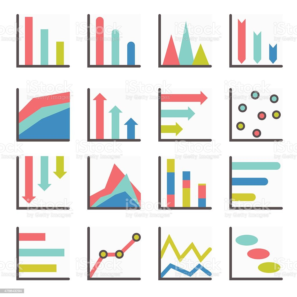 Set Of Flat Minimalistic Charts Graph Diagrams Infographics Vector Engine Royalty Free