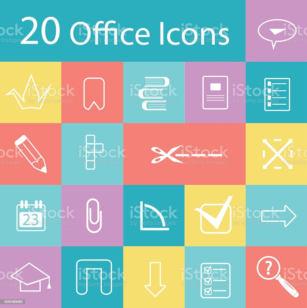 Set Of Flat Modern Office Icons Stock Vector Art & More Images of