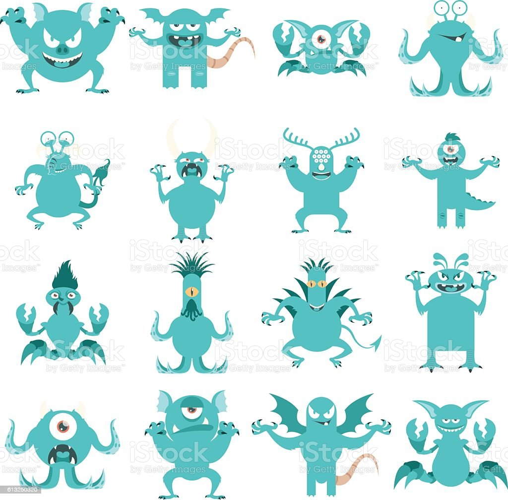 Set of flat moster icons1 vector art illustration