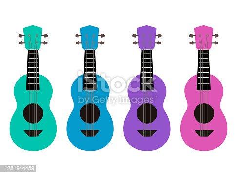 istock Set of flat multicolor cartoon ukulele. Hawaiian music. Musical string instrument. Vector element 1281944459