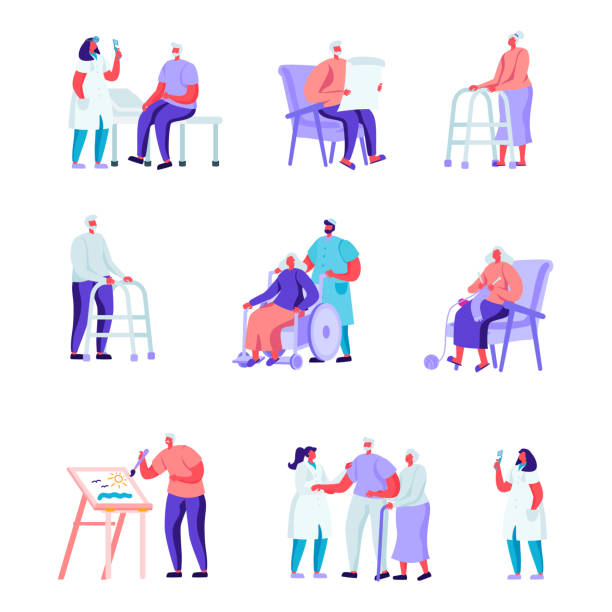 set of flat older people in a nursing home having medical aid characters. - old man playing chess cartoon stock illustrations, clip art, cartoons, & icons