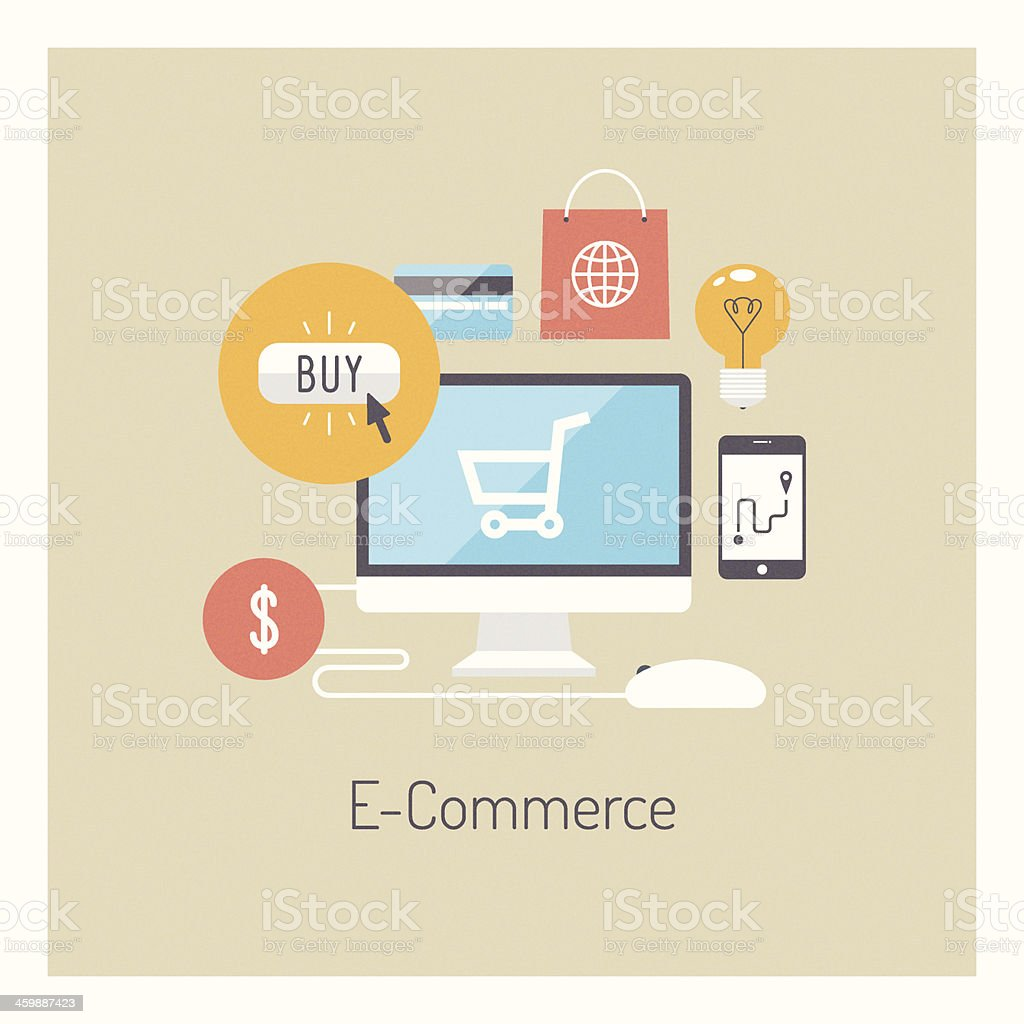 Set of flat online shopping and e-commerce icons vector art illustration