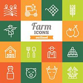 Set of flat outlined farm icons