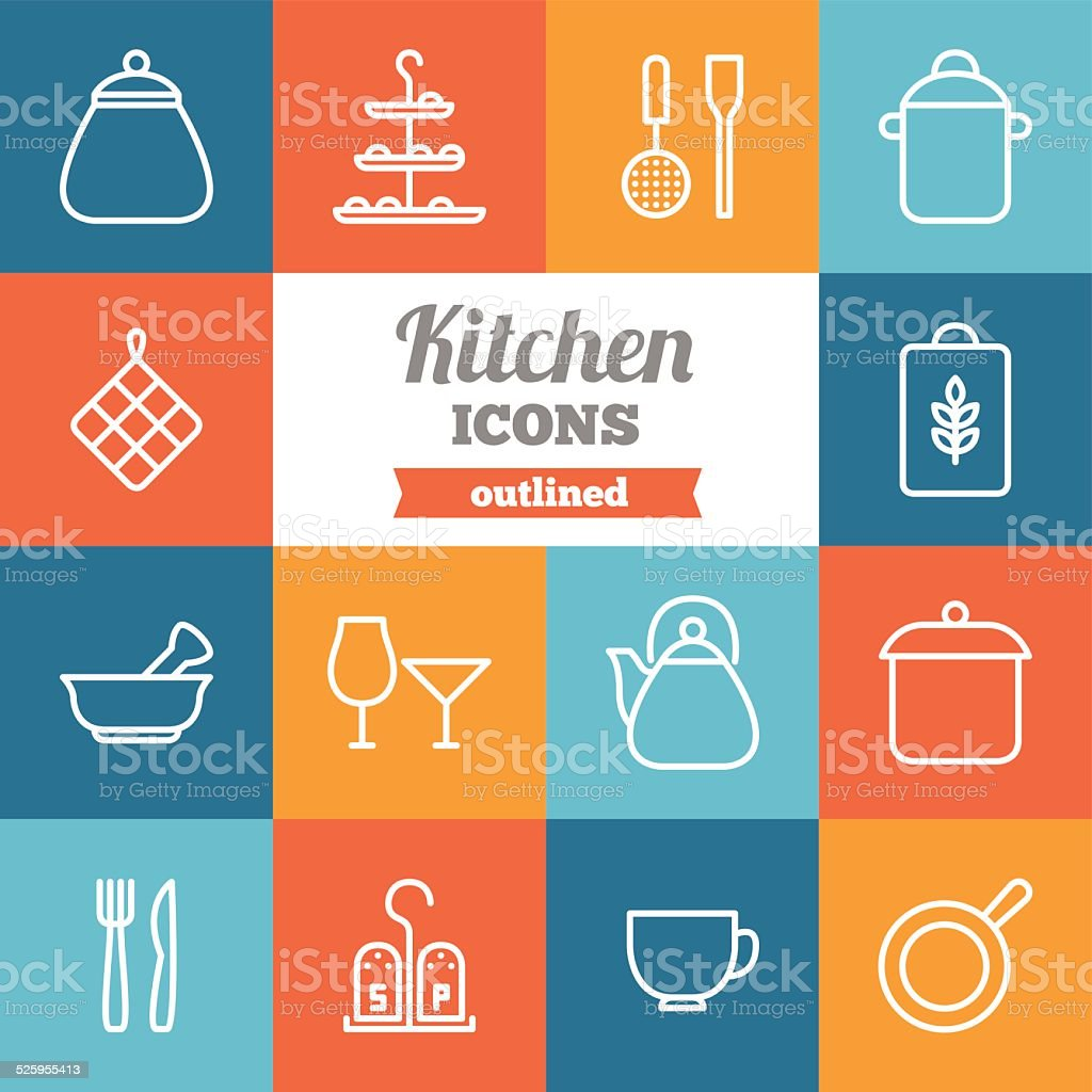Set of flat outlined kitchen icons vector art illustration