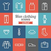 Set of flat outlined man clothing icons