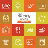 Set of flat outlined money icons