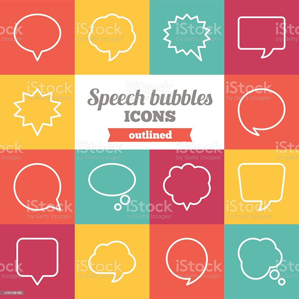 Conjunto de bolhas de Esboço discurso plana e ícones de balões de diálogo - ilustração de arte em vetor