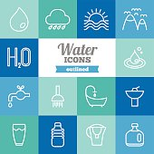 Set of flat outlined water icons
