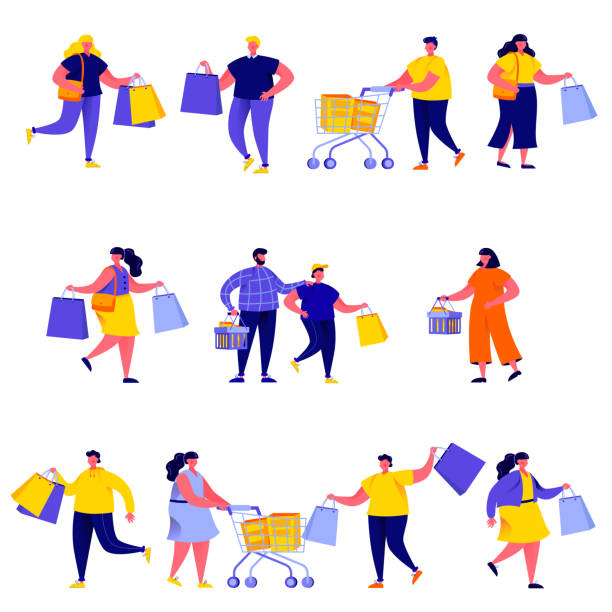 Set of flat people carrying shopping bags with purchases characters vector art illustration