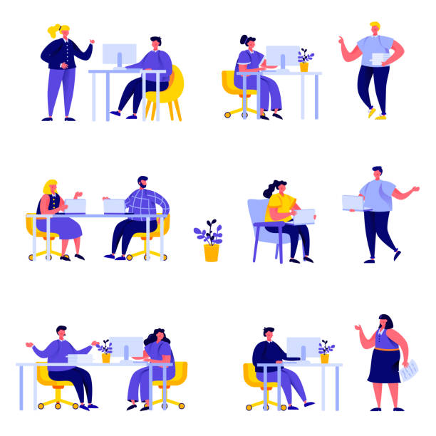 Set of flat people coworking space with creative characters vector art illustration