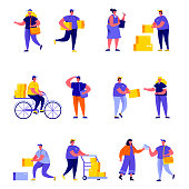 Set of flat people different delivery service workers characters. Bundle cartoon people delivering packages to clients isolated on white background. Vector illustration in flat modern style.