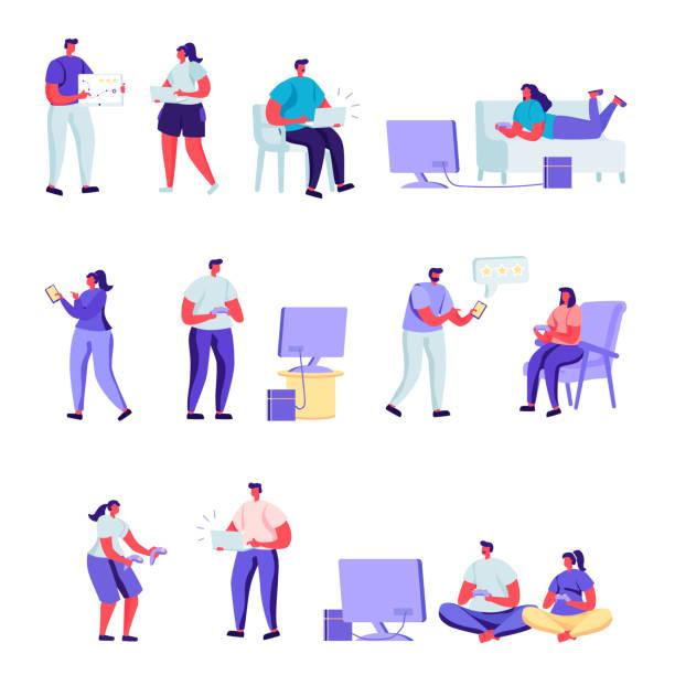 Set of flat people gamers characters. Bundle cartoon people – artystyczna grafika wektorowa