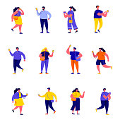 Set of flat people holding smartphones and texting characters. Cartoon tiny people on street isolated on white background. Flat vector Illustration. Collection people characters.