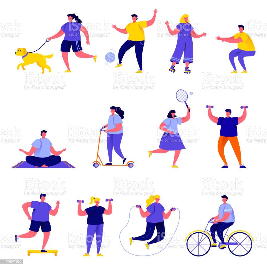 Set of flat people performing sports activities characters - Grafika wektorowa royalty-free (Badminton - sport)