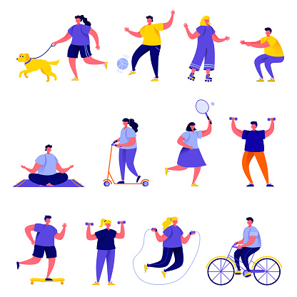 Set Of Flat People Performing Sports Activities Characters - Stockowe grafiki wektorowe i więcej obrazów Badminton - sport