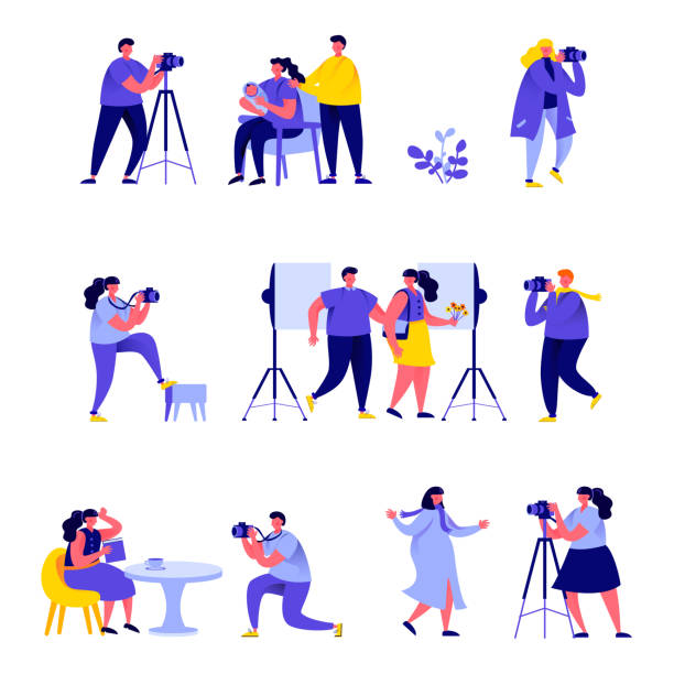 Set of flat people photographers take different pictures characters vector art illustration