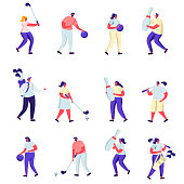 Set of Flat People Playing Golf and Bowling Characters. Cartoon Summertime Outdoors and Indoors Fun Activity, Healthy Lifestyle. Vector Illustration.