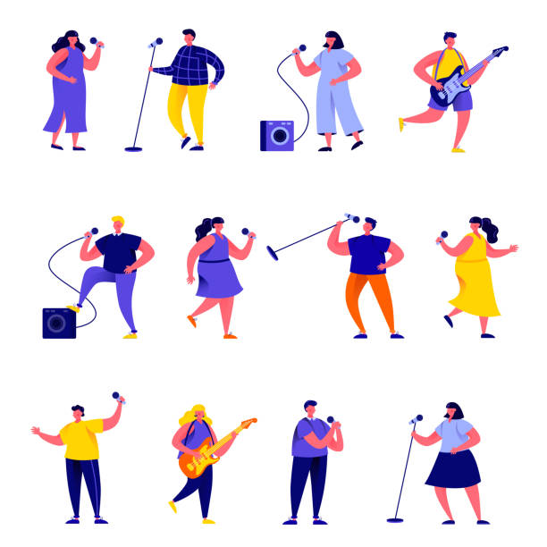Set of flat people singers with microphones and musicians characters vector art illustration