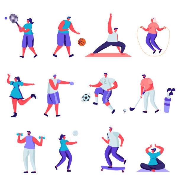 Set of flat people sports activities characters. Bundle cartoon people vector art illustration
