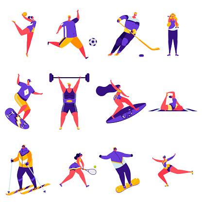 Set of flat people sports activities characters. Bundle cartoon people