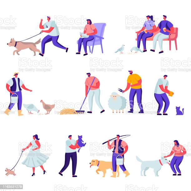 Set of flat pets and domestic animals characters vector id1163531278?b=1&k=6&m=1163531278&s=612x612&h=hof5in6ouydtz6xqg6r1ntc44rpdhnazyopryomp6zw=