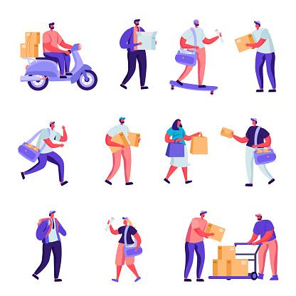 Set Of Flat Postal Delivery Service Characters - Stockowe grafiki wektorowe i więcej obrazów Biuro