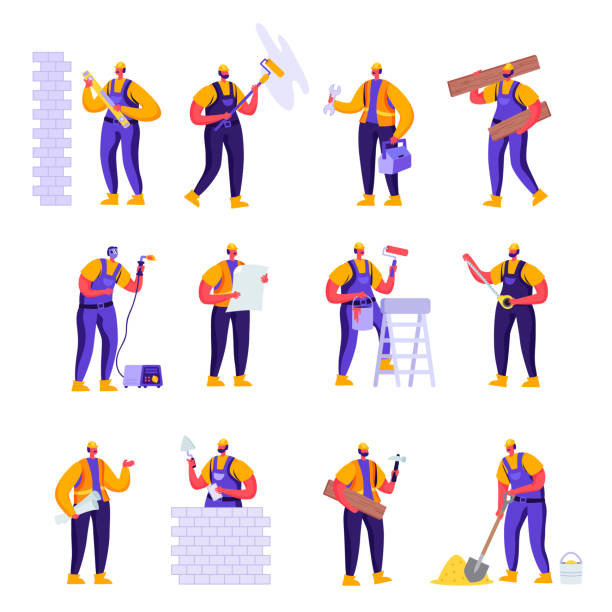 Set of Flat Professional Construction Workers Engineers Characters. vector art illustration