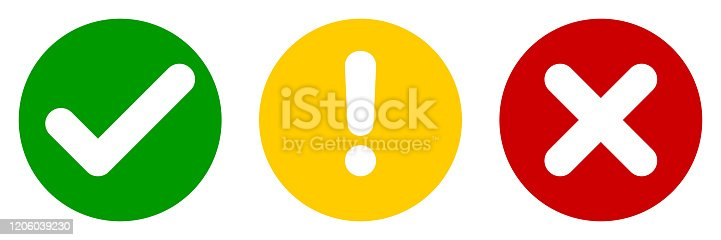 Set of flat round check mark, exclamation point, X mark icons, buttons isolated on a white background. EPS10 vector file