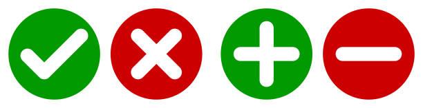 illustrazioni stock, clip art, cartoni animati e icone di tendenza di set di segno di spunta rotondo piatto, segno x, più icone segno e segno meno, pulsanti isolati su uno sfondo bianco. - segno meno