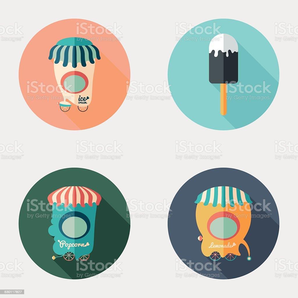 Set of flat round icons. Ice Cream. Popcorn. Lemonade. vector art illustration