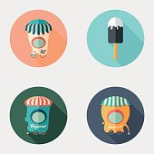 Set of flat round icons. Ice Cream. Popcorn. Lemonade.