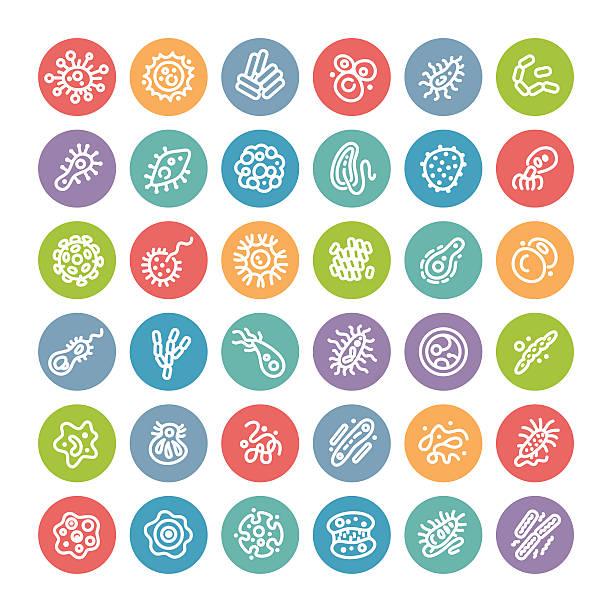 ilustraciones, imágenes clip art, dibujos animados e iconos de stock de conjunto de iconos plana redonda con bacterias y microbios - cáncer tumor