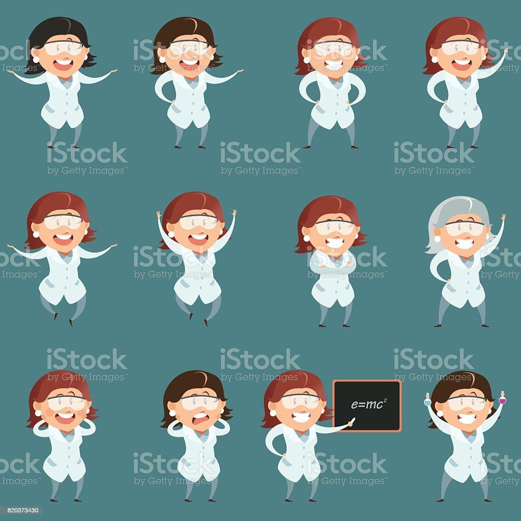 Set of flat scientist women icons set of flat scientist women icons - arte vetorial de stock e mais imagens de adulto royalty-free