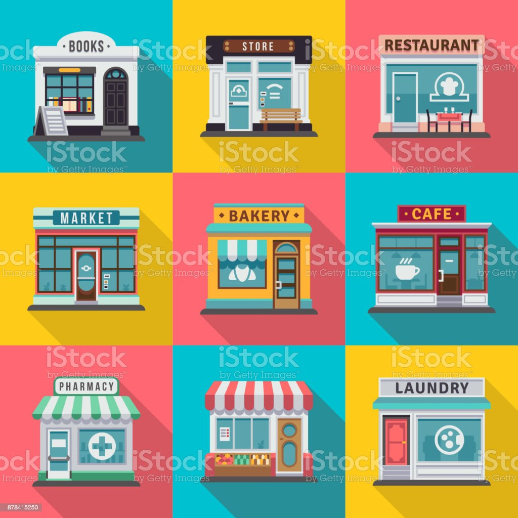 Set of flat shop building facades icons. Vector illustration for local market store house design - arte vettoriale royalty-free di Affari